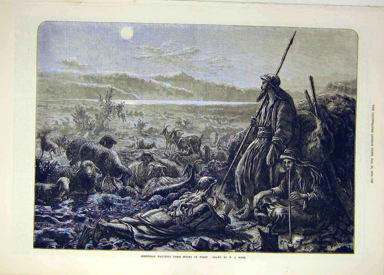 Print 1872 Shepherds Flocks Night Webb Fine Art 377921 Old Original