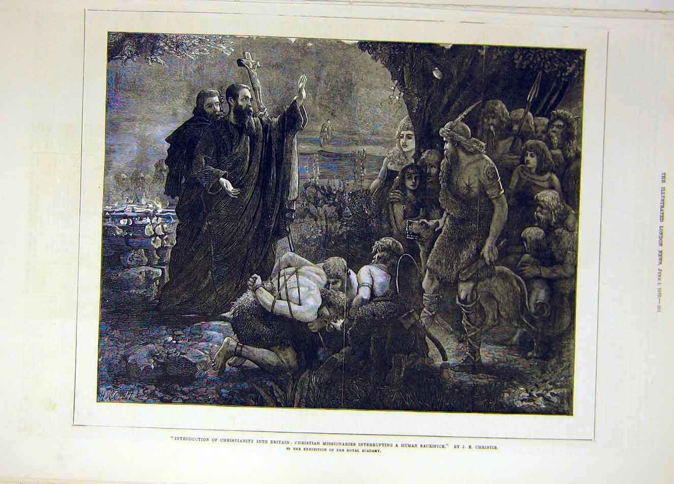 Print 1878 Christianity Missionaries Sacrifice Christie Art 387921 Old Original