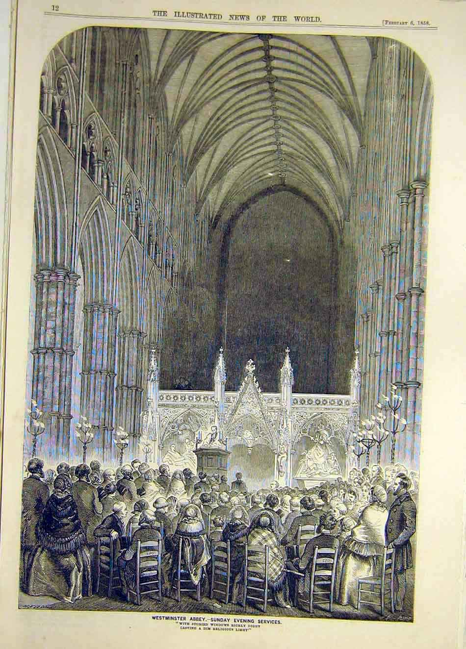 Print 1858 Westminster Abbey Sunday-Evening Service 407921 Old Original