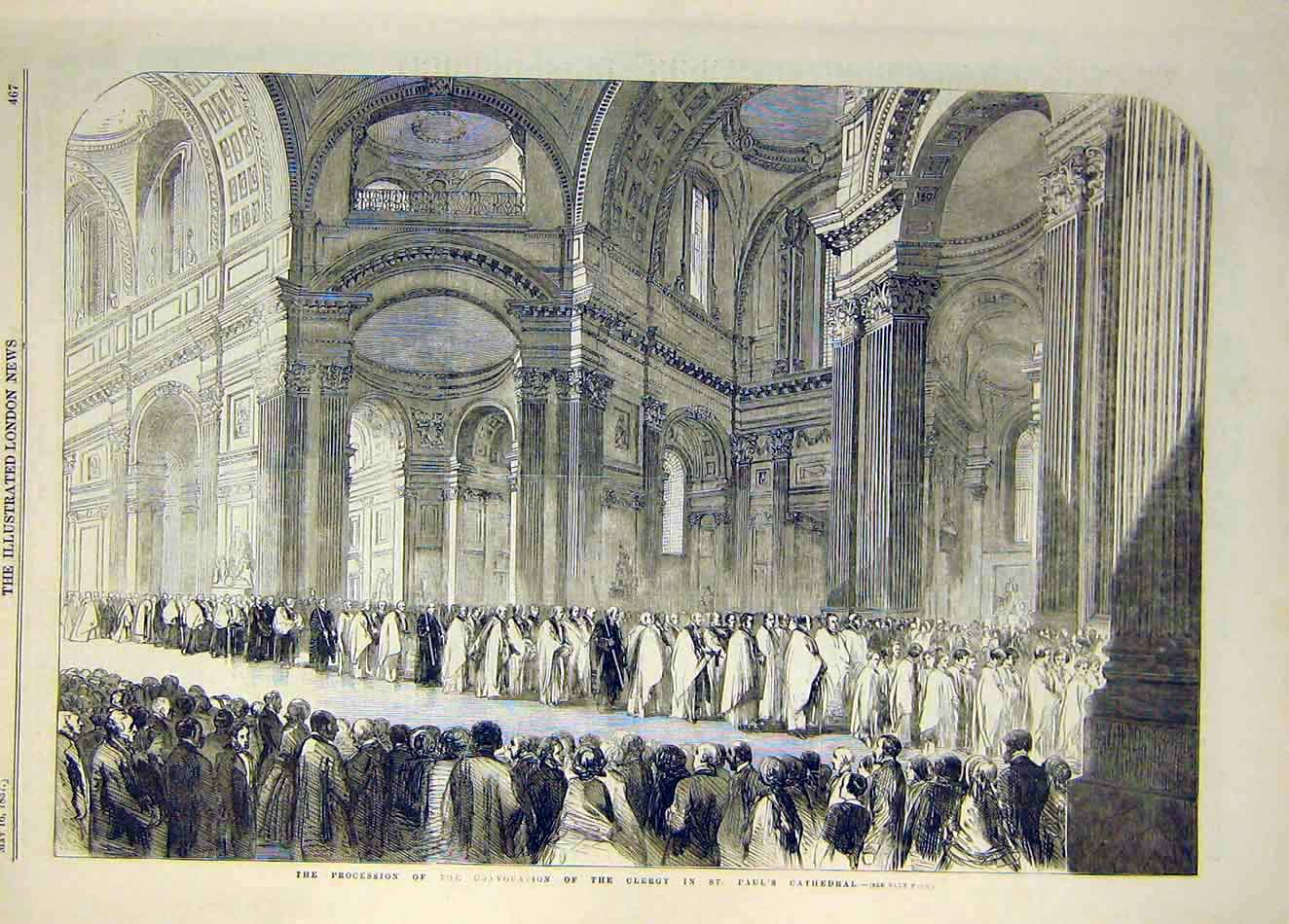 Print 1857 Procession Convocation Clergy St Paul'S Cathedral 437921 Old Original