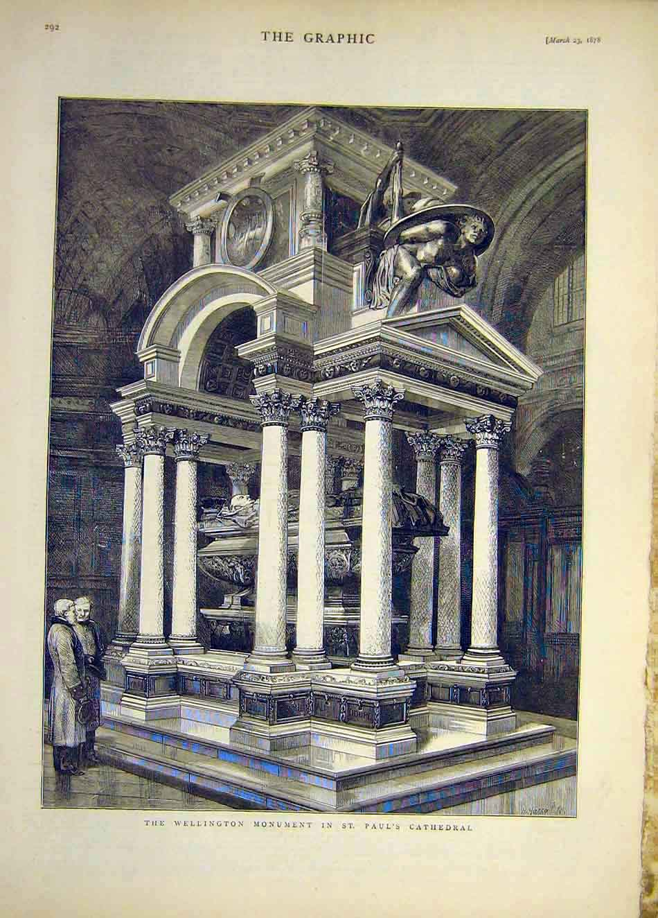Print 1878 Wellington Monument St Paul'S Cathedral 457921 Old Original