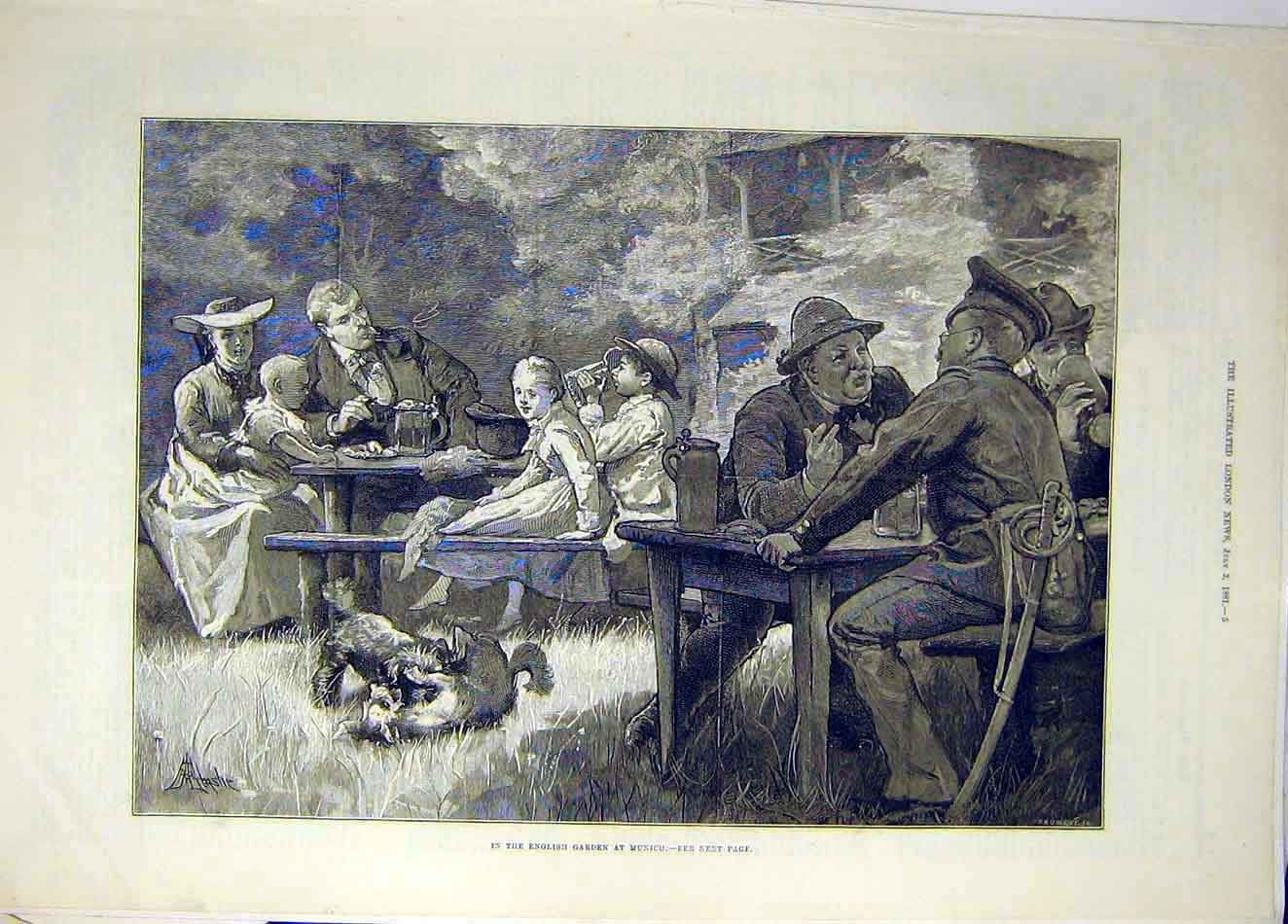 Print 1881 English Garden Munich Picnic People 617921 Old Original