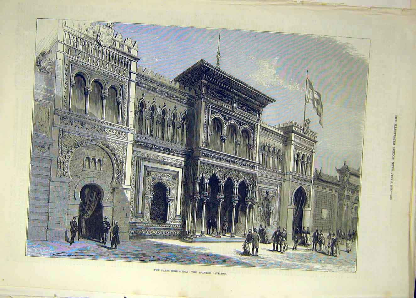Print 1878 Paris Exhibition Spanish Pavilion Building 657921 Old Original