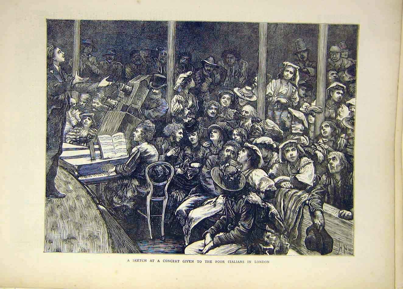 Print 1871 Sketch Concert Poor Italians London Music 927921 Old Original