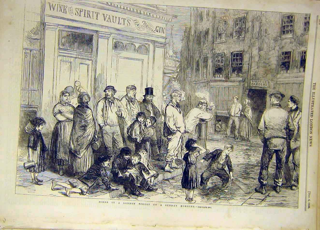 Print 1856 London Street Sunday-Morning Children People 987921 Old Original