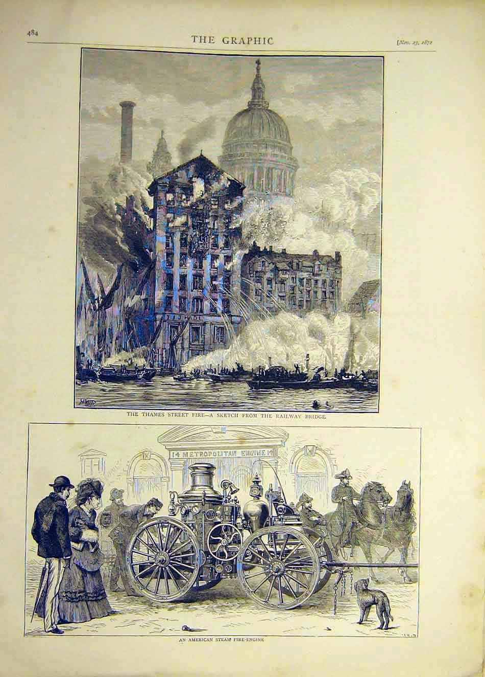 Print 1872 Thames Street Fire American Steam Fire-Engine 457921 Old Original