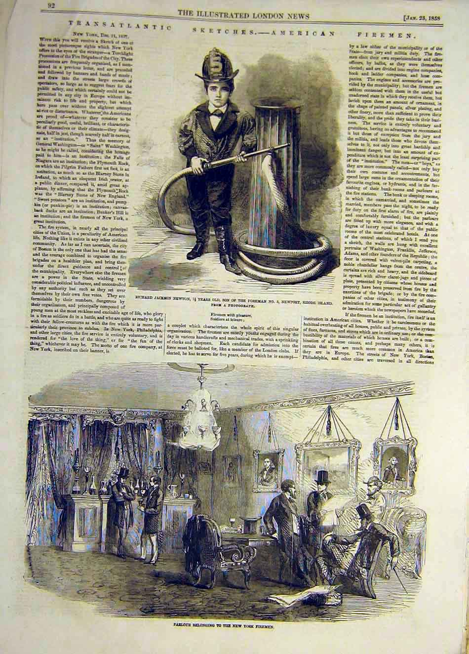 Print 1858 Sketches Transatlantic Firemen Newton New York 477921 Old Original