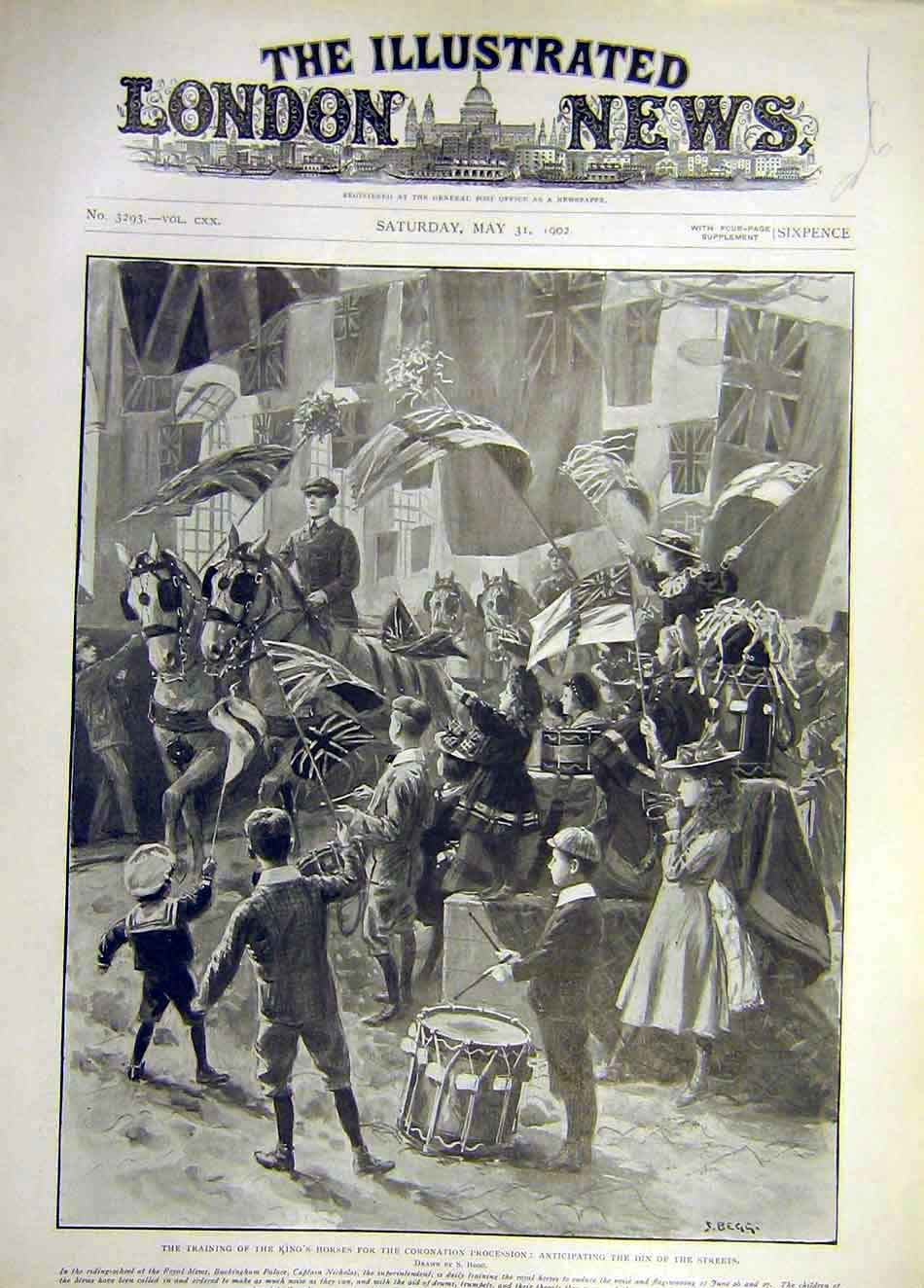 Print 1902 King Horses Coronation Procession Training Street 567921 Old Original