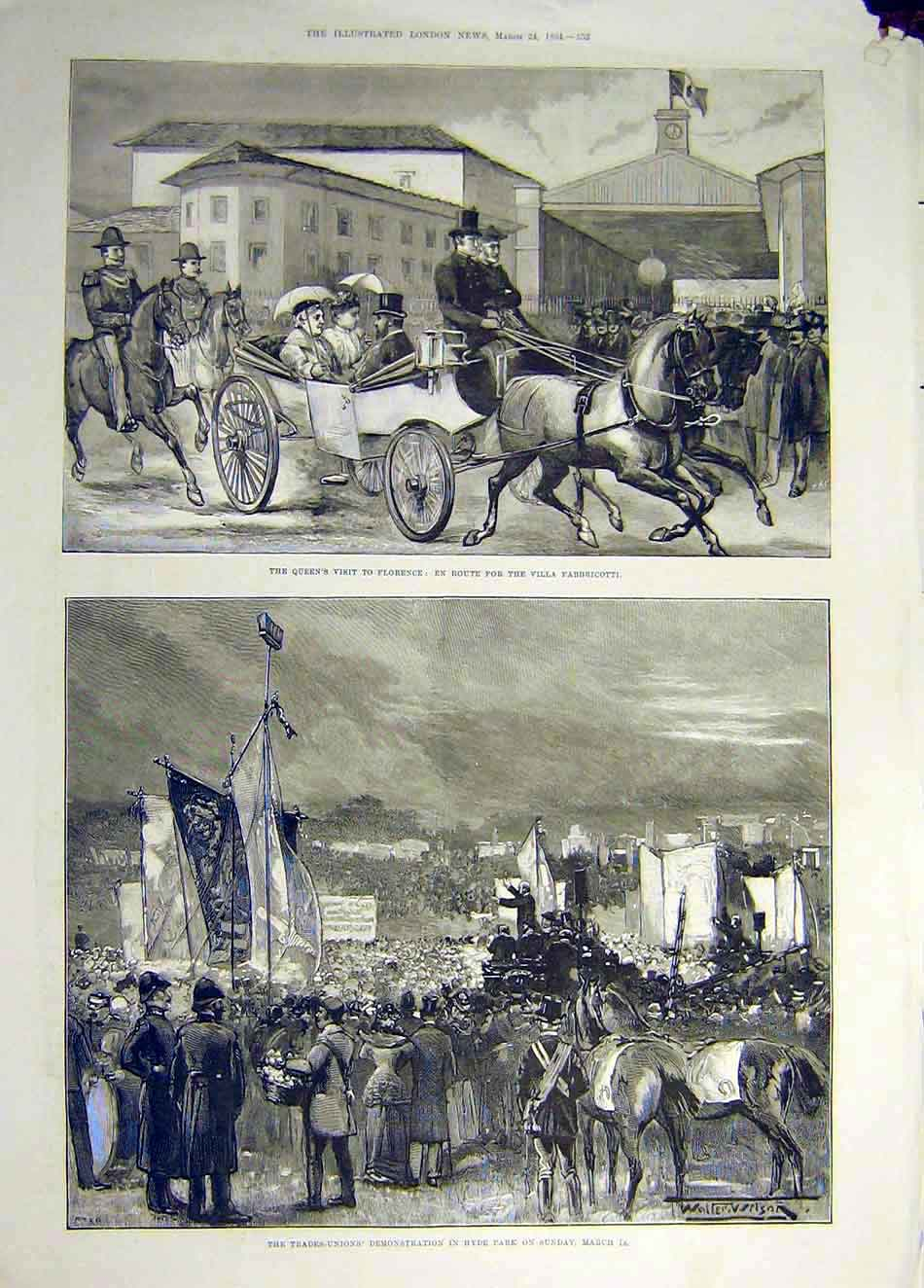 Print 1894 Queen Florence Trade-Unions Demonstration Hyde 017931 Old Original