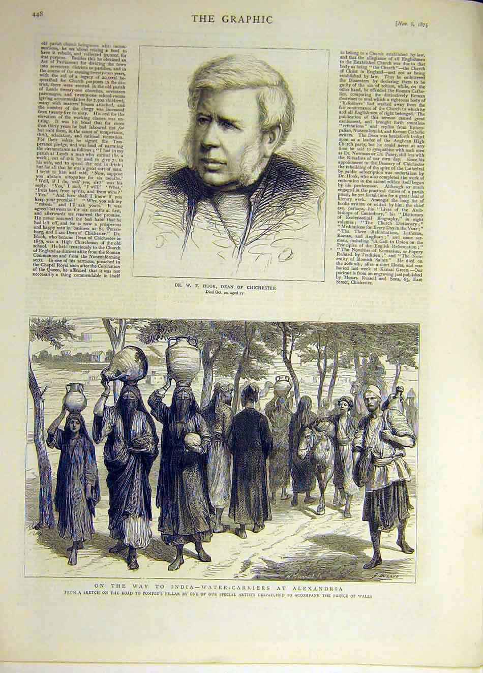 Print 1875 Portrait Dean Chichester Hook India Water-Carriers 027931 Old Original