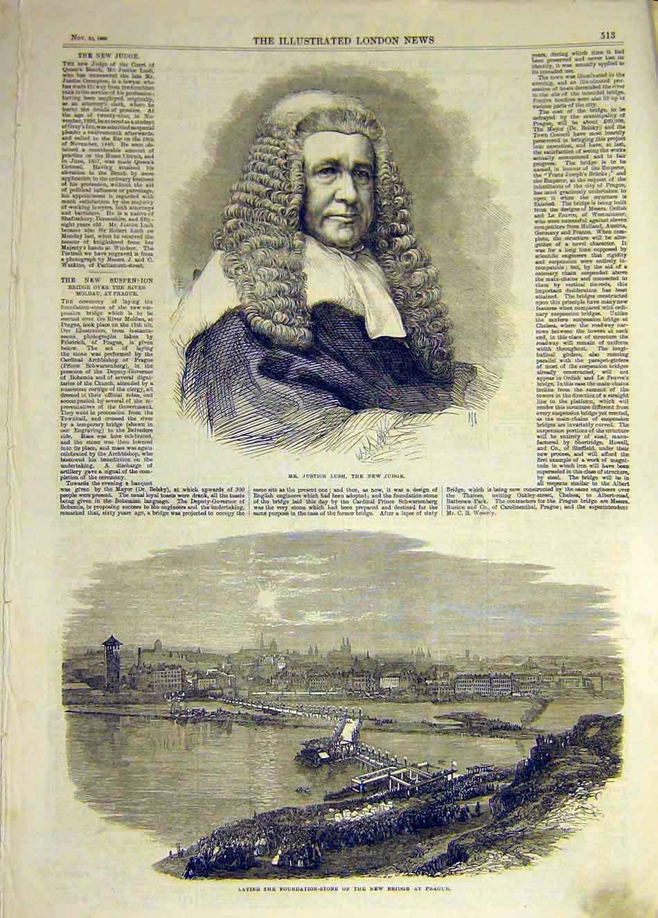 Print 1865 Justice Lush Judge Portrait Prague Bridge 177931 Old Original