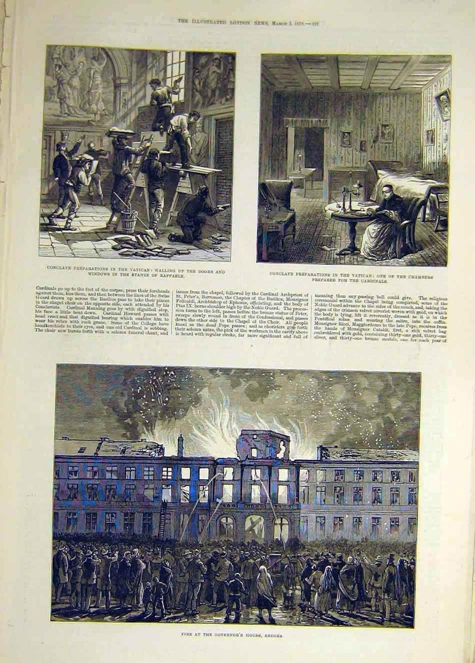 Print 1878 Vatican Conclave Rome Chamber Fire Governor Bruges 197931 Old Original