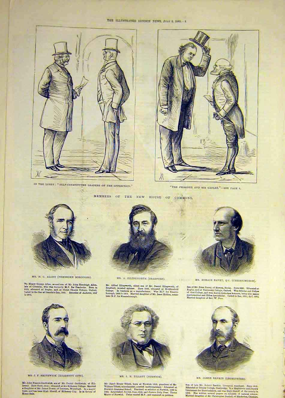 Print 1880 House Commons Members Sketch Portraits 207931 Old Original
