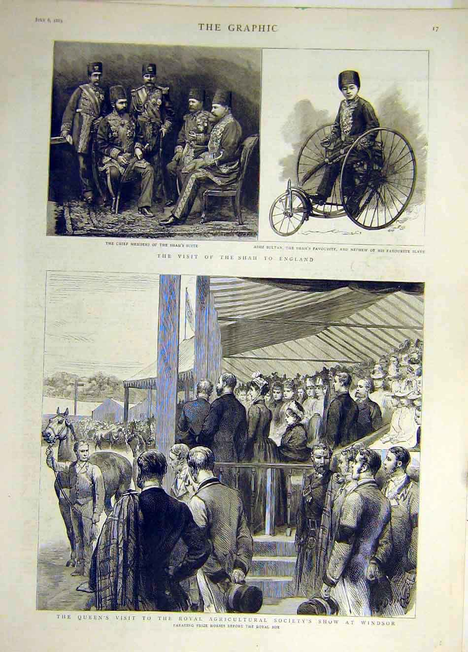 Print 1889 Windsor Queen Prize Horse Shah England Visit 227931 Old Original