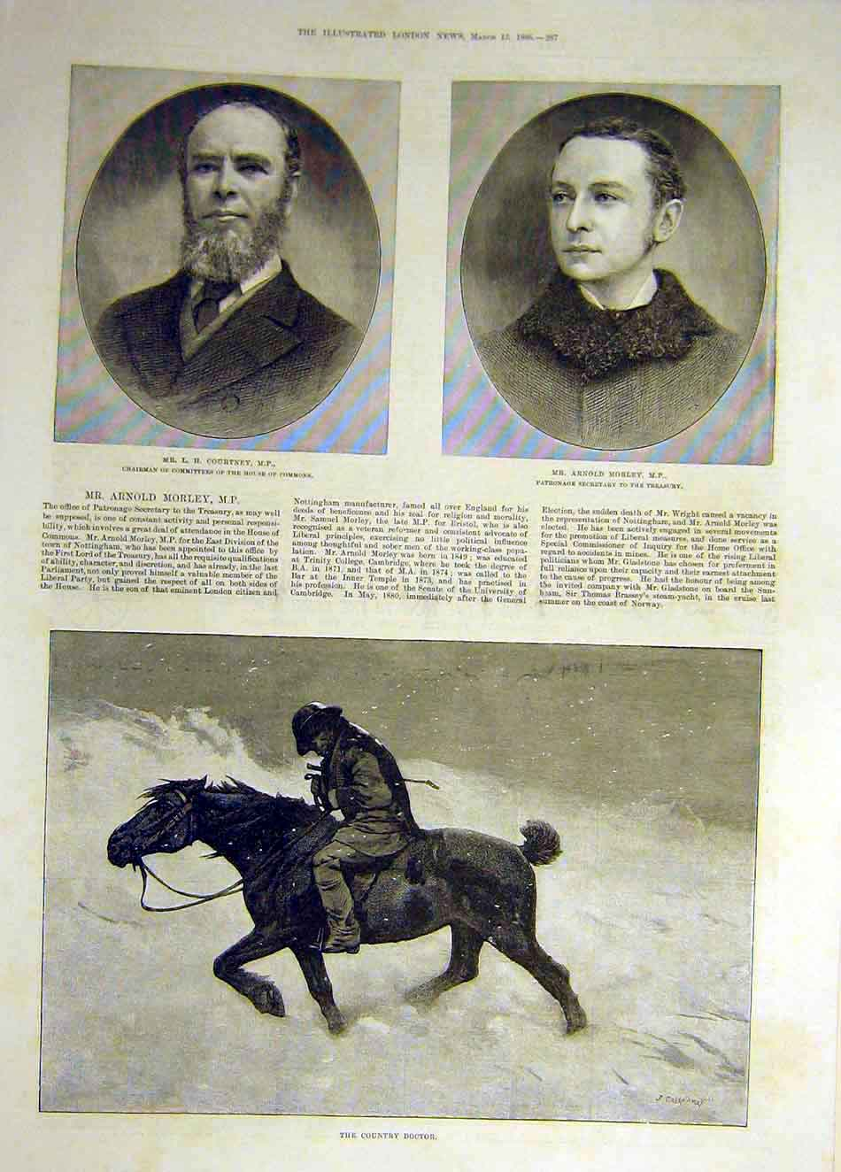 Print 1886 Morely Courtney Country Doctor Horse 277931 Old Original