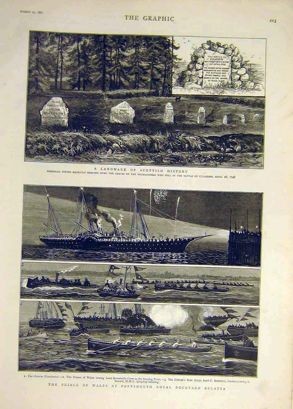 Print 1881 Highlanders Memorial Scottish Regatta Portsmouth 337931 Old Original