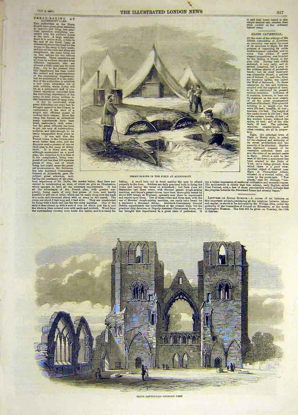Print 1859 Bread-Baking Aldershot Elgin Cathedral Building 397931 Old Original