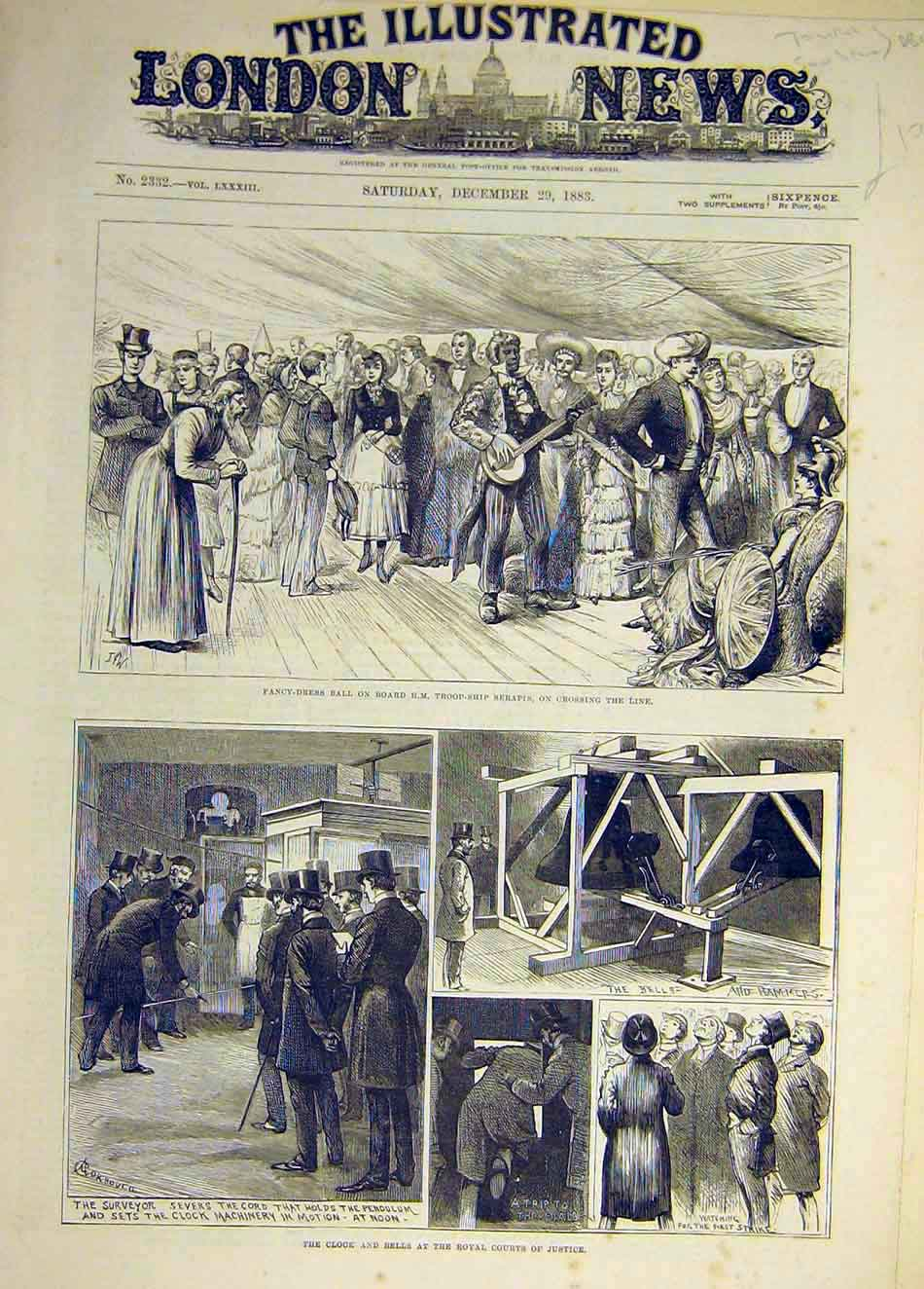 Print 1883 Fancy-Dress Ball Serapis Clock Bells Royal Court 417931 Old Original