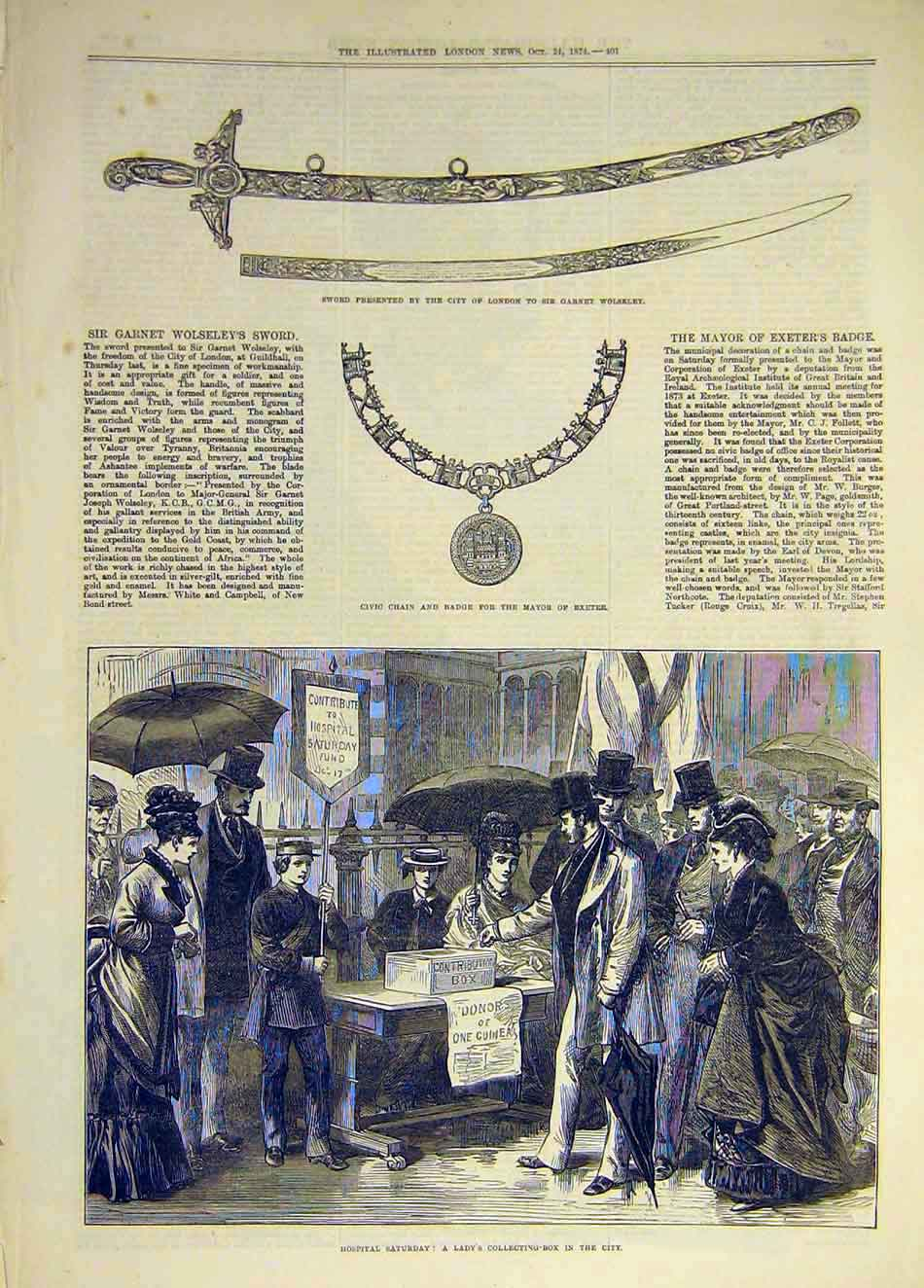 Print 1874 Sword Wolseley Exeter Civic Chain Hospital Charity 567931 Old Original
