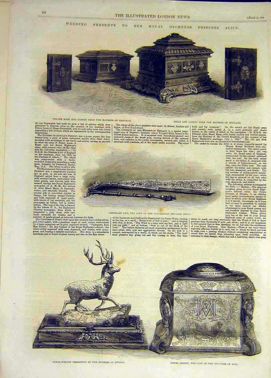 Print 1862 Matrons Prayer Casket Bible Fan Athole Fife Gift 667931 Old Original