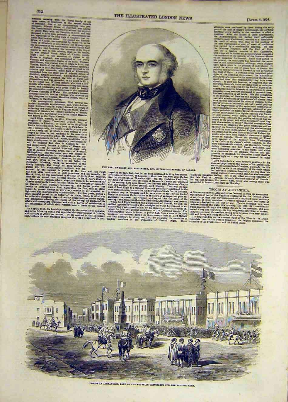 Print 1854 Elgin Kincardine Earl Troops Alexandria Egyptian 677931 Old Original