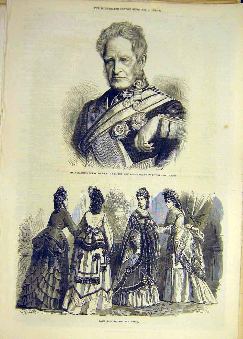 Print 1871 Portrait Pollock Tower London Paris Fashions 717931 Old Original