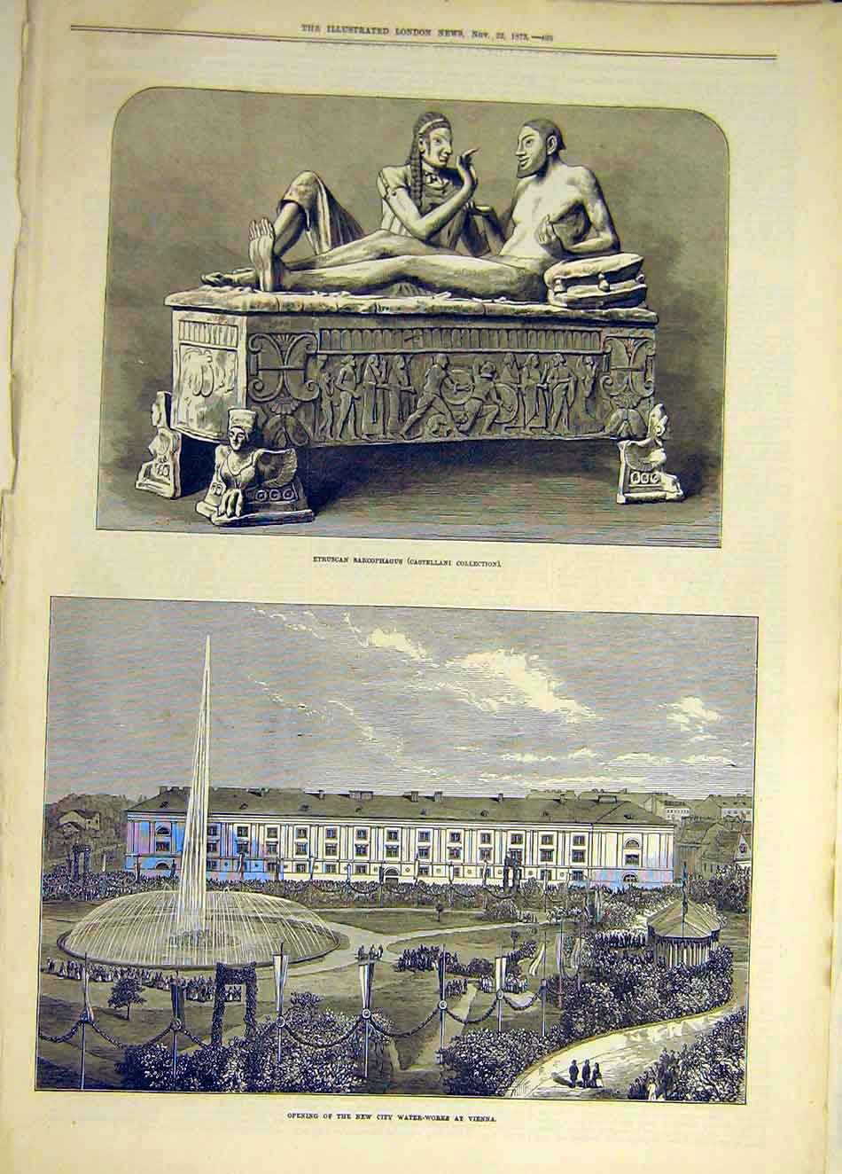 Print 1873 Sarcophagus Statue City Water-Works Vienna 737931 Old Original