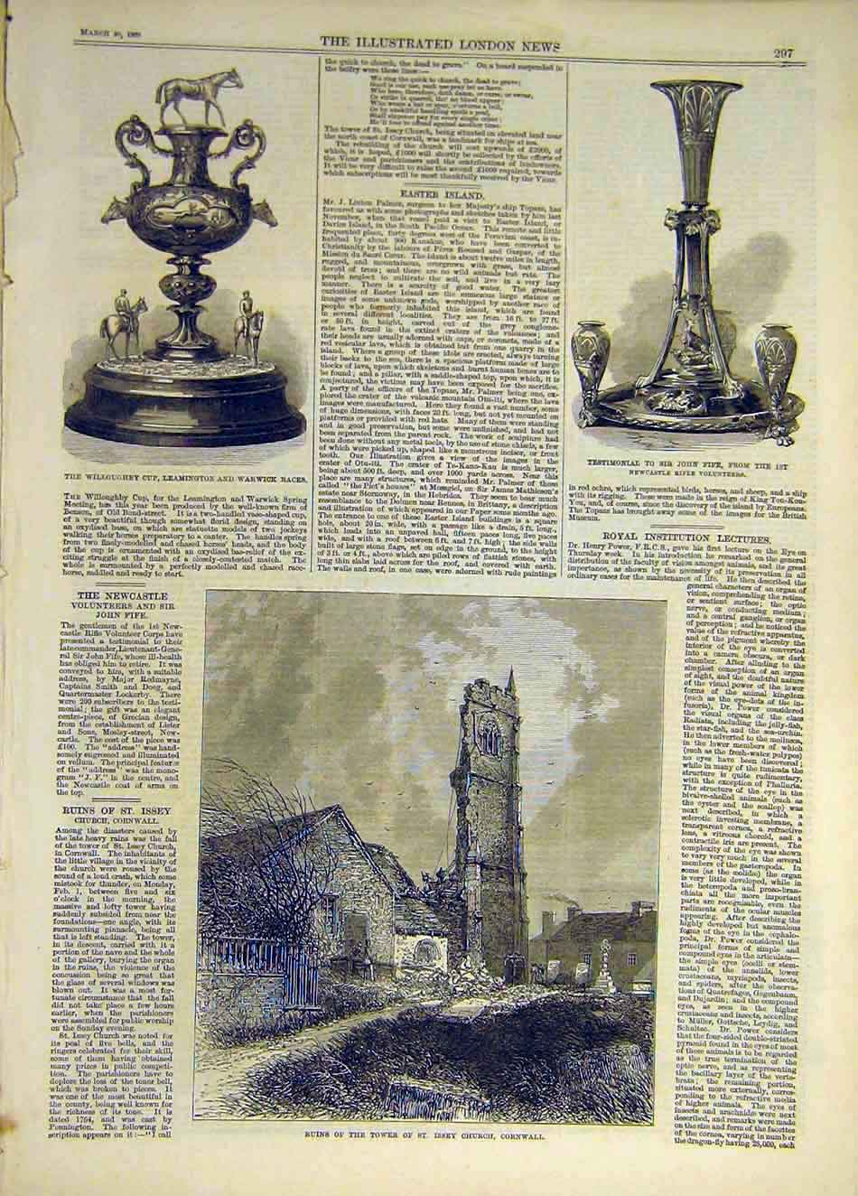 Print 1869 Willouhgby Cup Races Fife Tower Ruins Cornwall 757931 Old Original