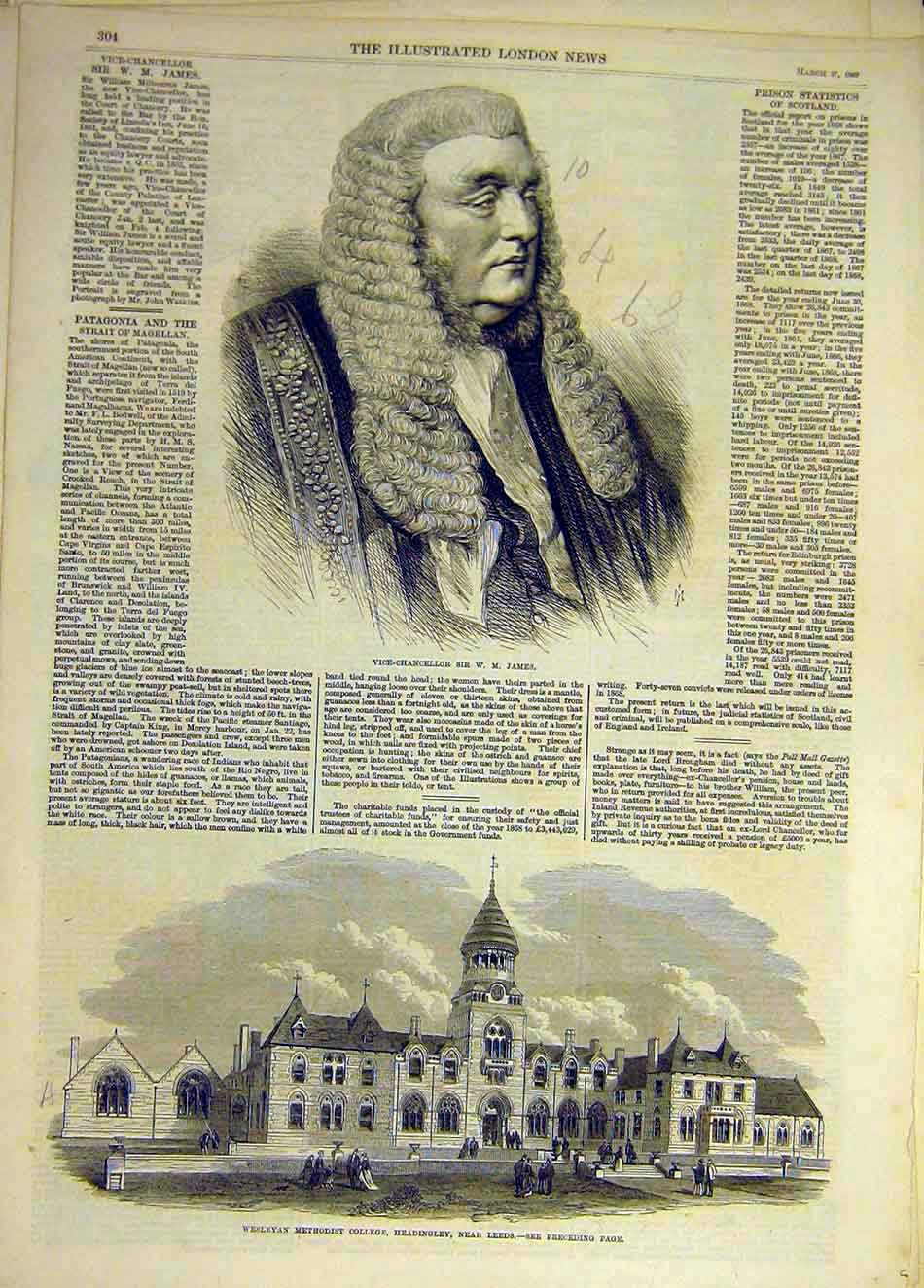 Print 1869 Vice-Chancellor James Weslyan College Leeds 767931 Old Original