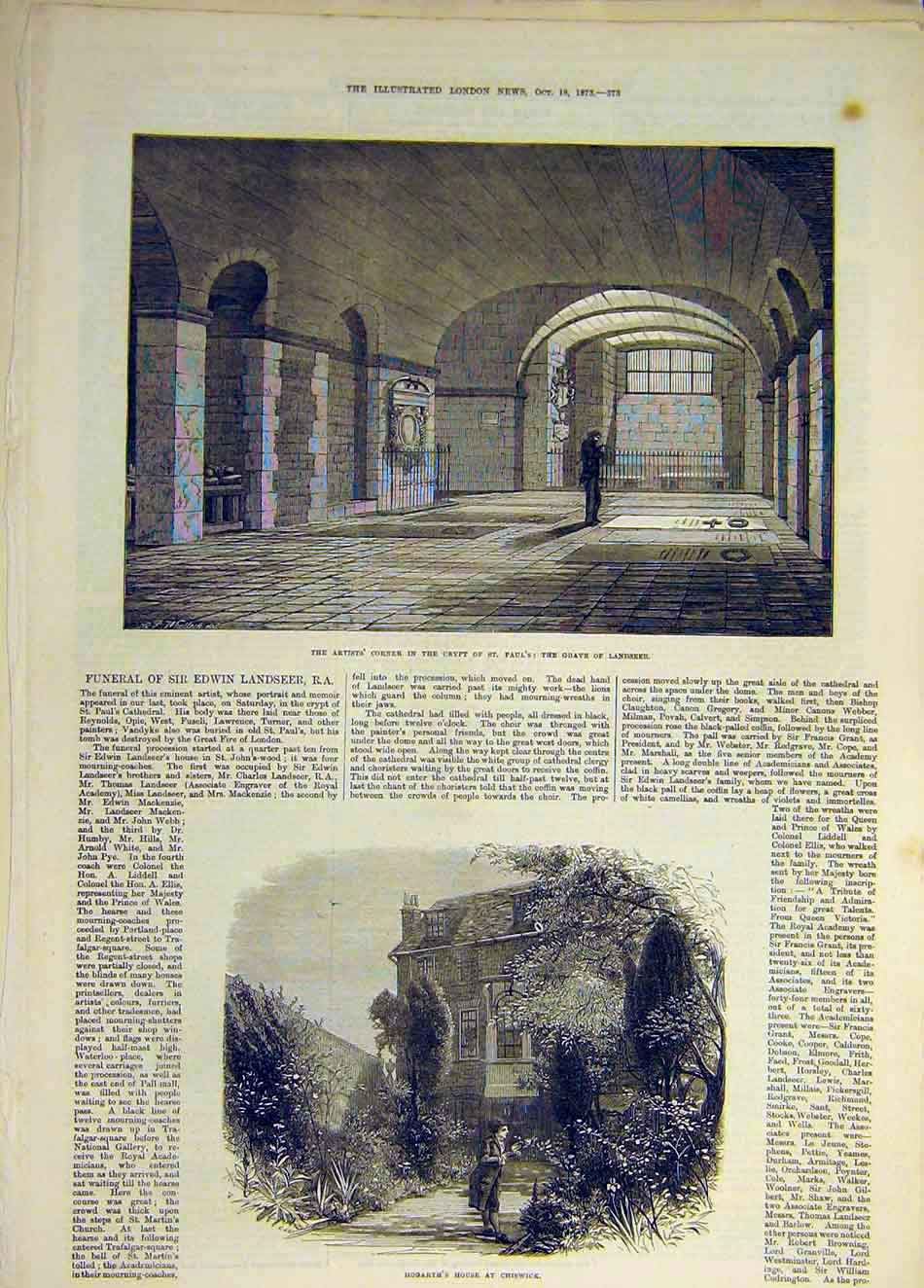 Print 1873 Crypt St Paul'S Landseer Grave Hogarth Cheswick 827931 Old Original