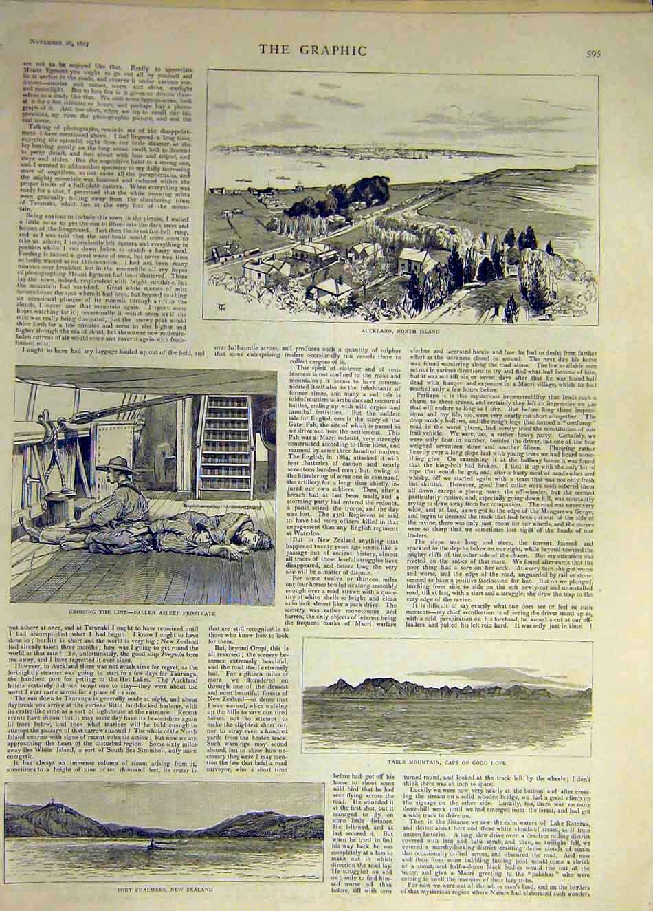 Print 1887 Auckland New-Zealand Table-Mountain Africa 837931 Old Original