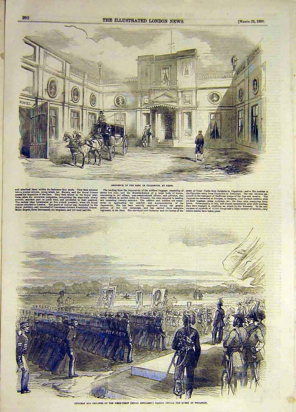 Print 1856 Earl Clarendon Paris Residence Train Artillery 857931 Old Original