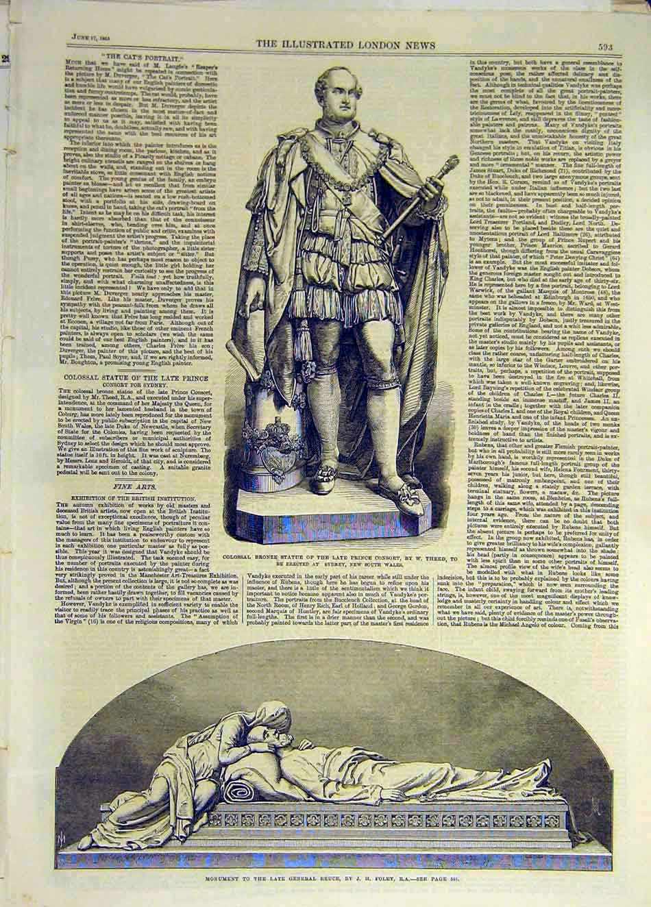 Print 1865 Statue Prince Consrot Theed Monument Bruce Foley 867931 Old Original