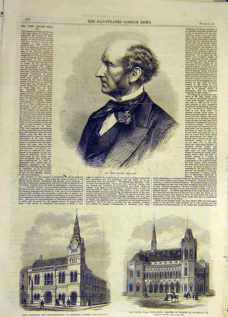 Print 1866 Portrait Mill Townhall Corn Exchange Farnham Frere 887931 Old Original