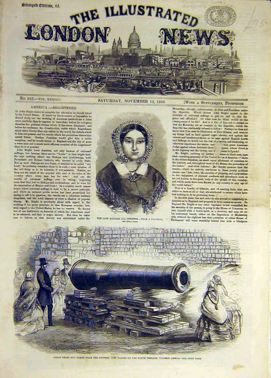 [Print 1858 Pfeiffer Portrait Brass-Gun Chinese Windsor Castle 957931 Old Original]