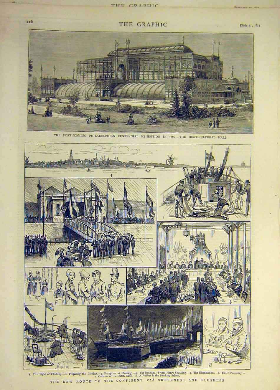 Print 1875 Philadelphian Exhibition Sheerness Flushing 057931 Old Original