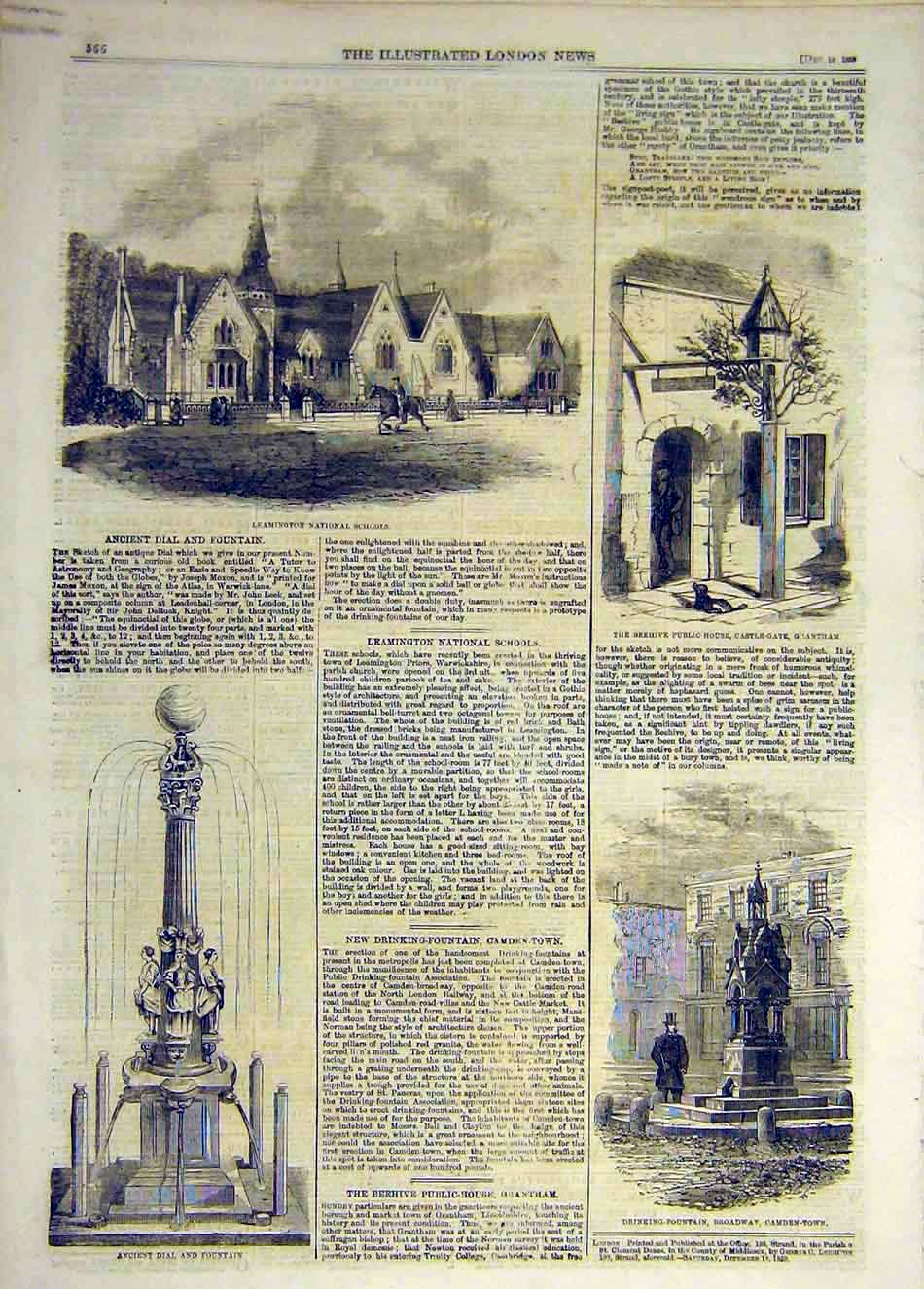 Print 1859 Leamington Schools Beehive Grantham Dial Fountain 197931 Old Original