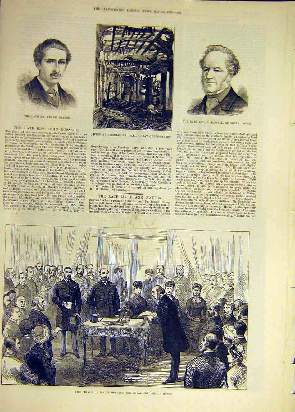 Print 1883 Hatton Russell Freemason Hall College Music Prince 237931 Old Original
