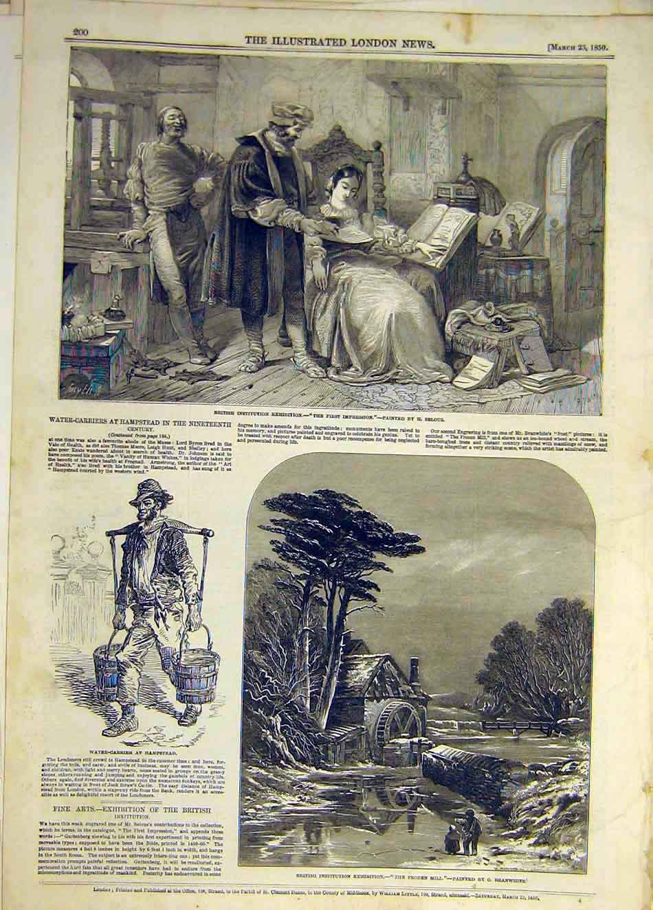 Print 1850 First-Impression Selous Hampstead Branwhite 427931 Old Original