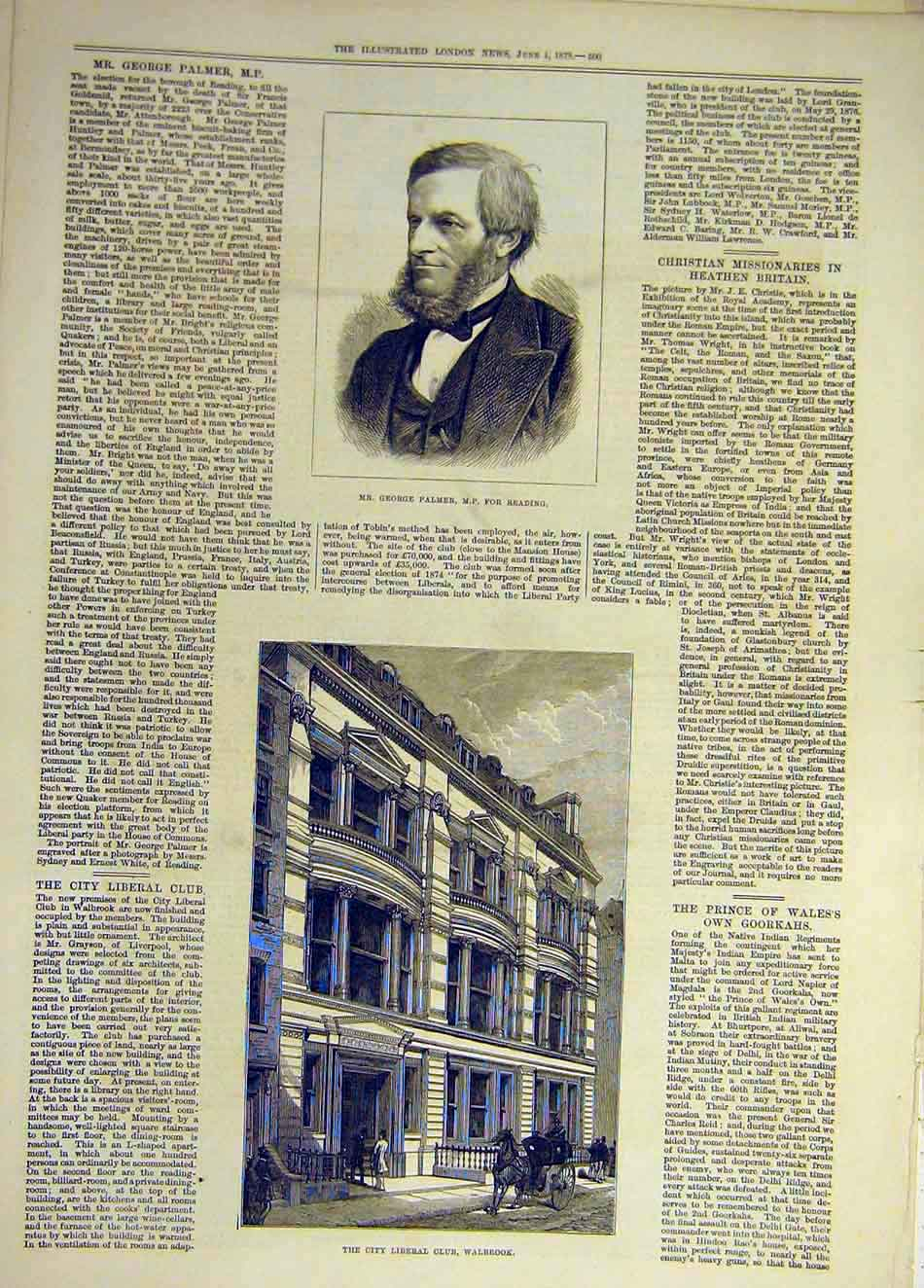 Print 1878 Palmer Reading City-Liberal Club Walbrook 457931 Old Original
