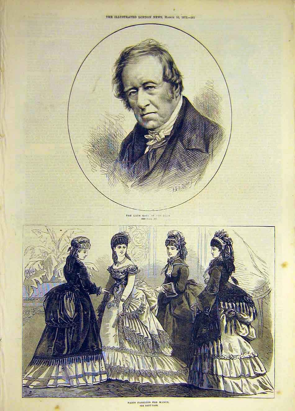 Print 1872 Earl Lonsdale Paris Fashion Ladies March 527931 Old Original