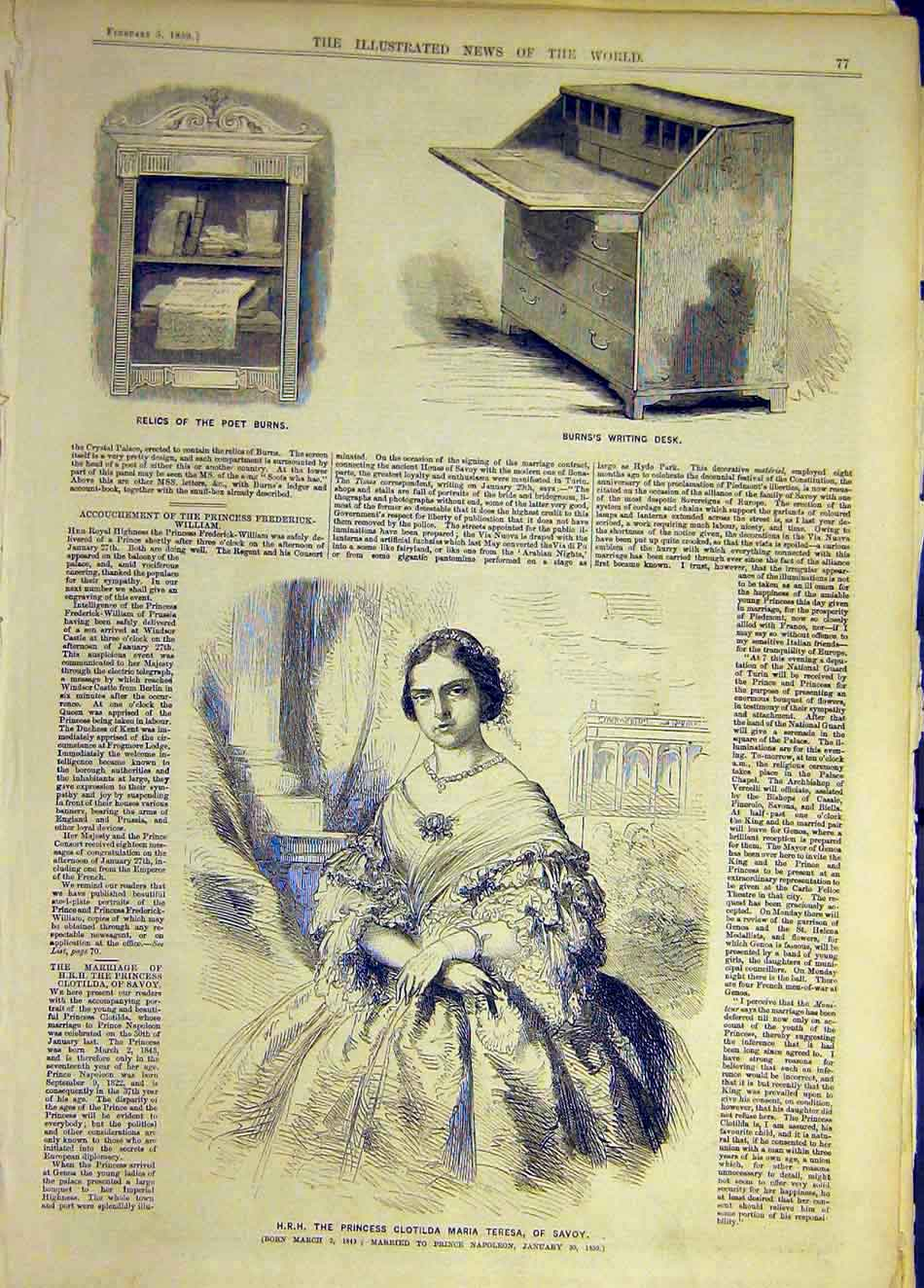 Print 1859 Poet Burns Relics Desk Hrh Princess Teresa Savoy 757931 Old Original