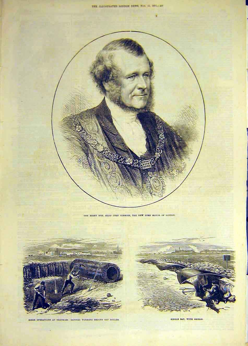 Print 1871 Portrait Gibbons Mayor London Chatham Sap-Roller 807931 Old Original