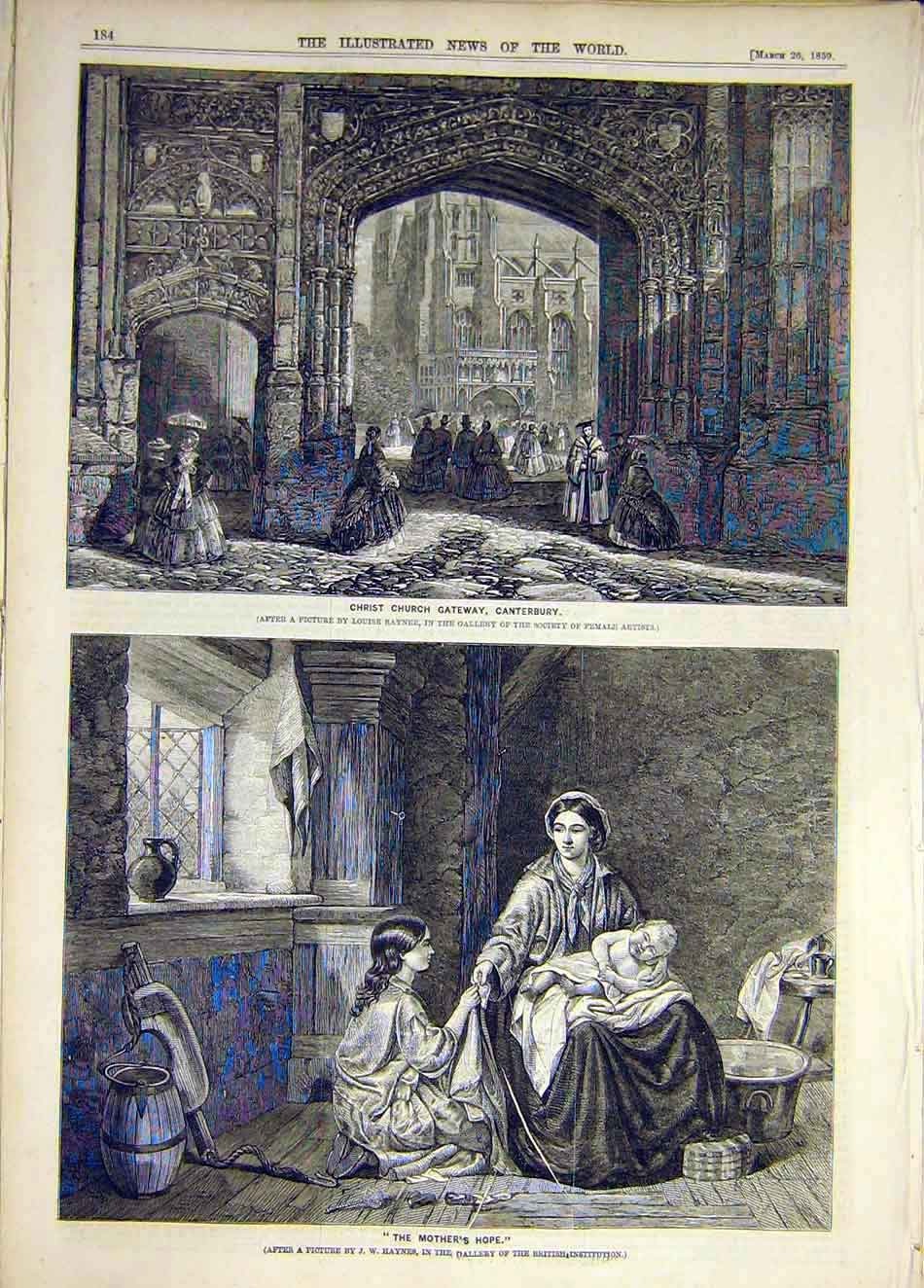 Print 1859 Christ-Church Gateway Canterbury Haynes Hope 917931 Old Original