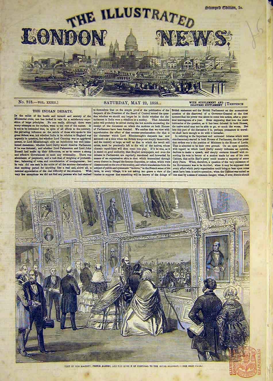 Print 1858 Prince Albert Queen Portugal Royal Academy Visit 997931 Old Original