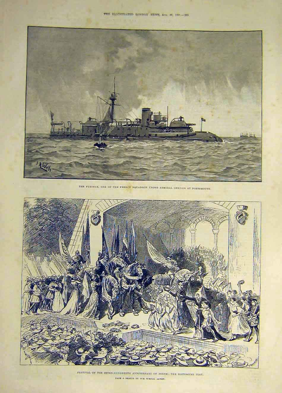 Print 1891 Furieux French Squadron Gervais Berne Festival 037931 Old Original