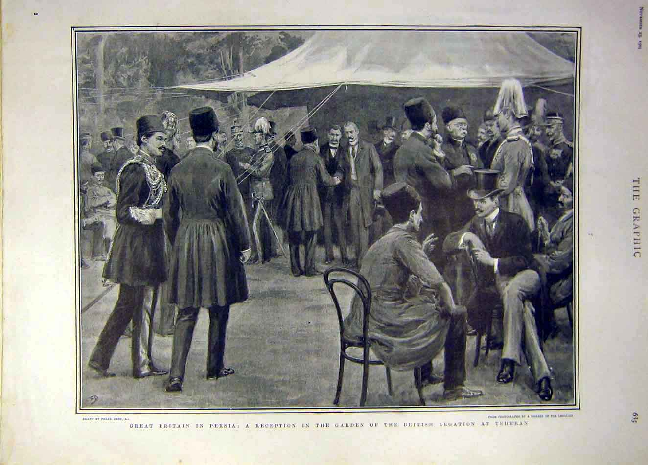 [Print 1901 Persia British Reception Garden Teheran 167931 Old Original]