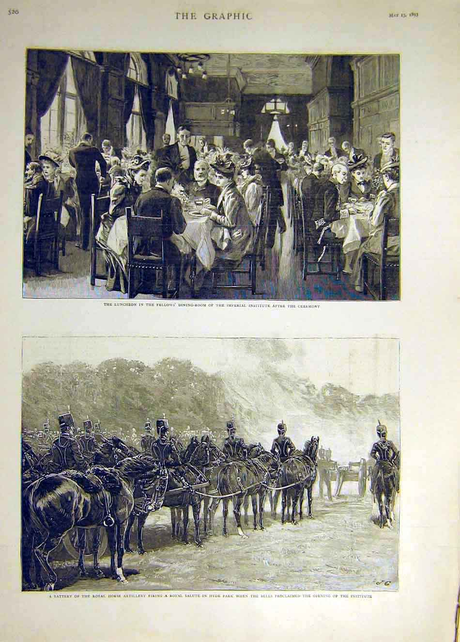 Print 1893 Imperial Institute Fellow'S Royal Horse Artillery 187931 Old Original