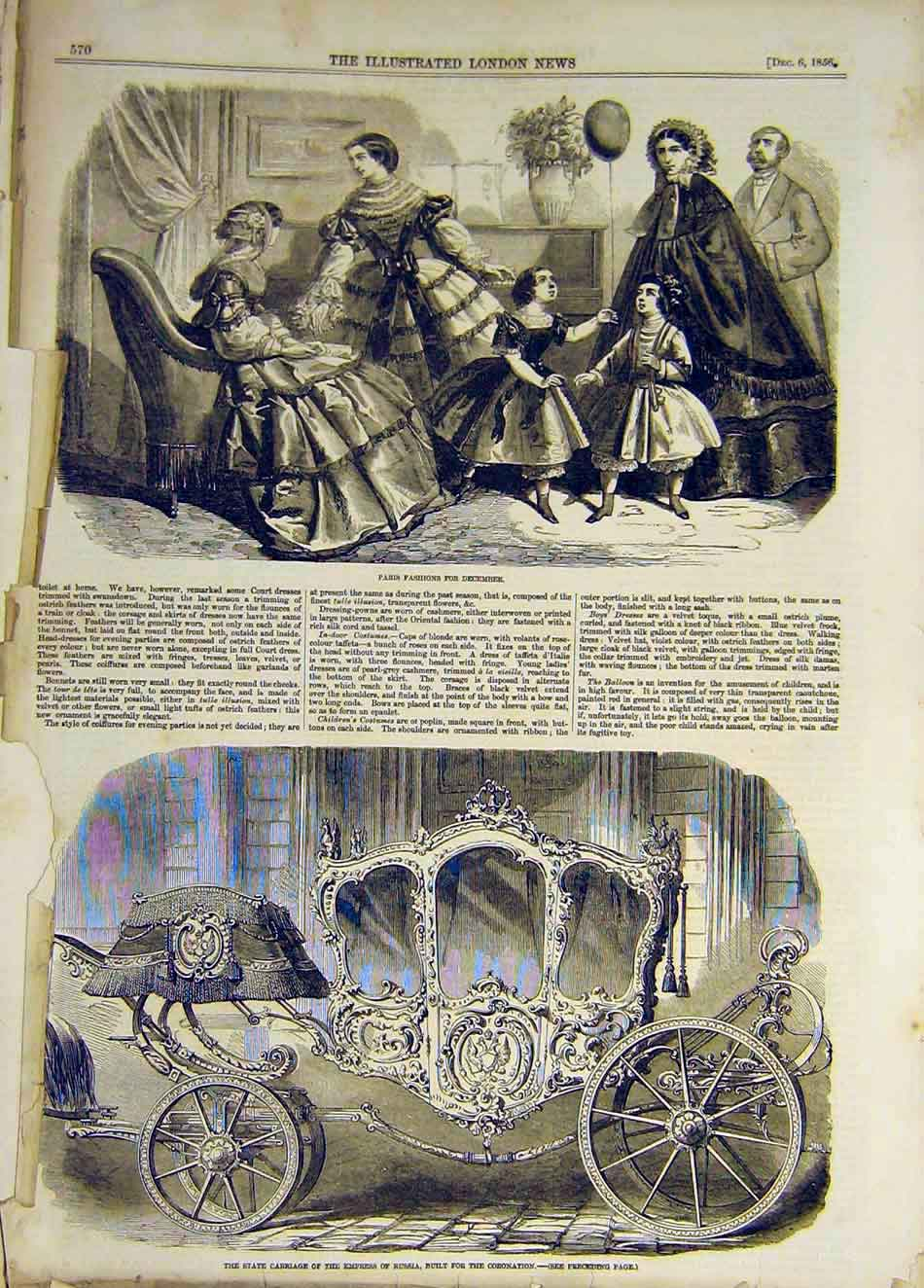 Print 1856 Paris Fashion Ladies State Carriage Russia Empress 257931 Old Original