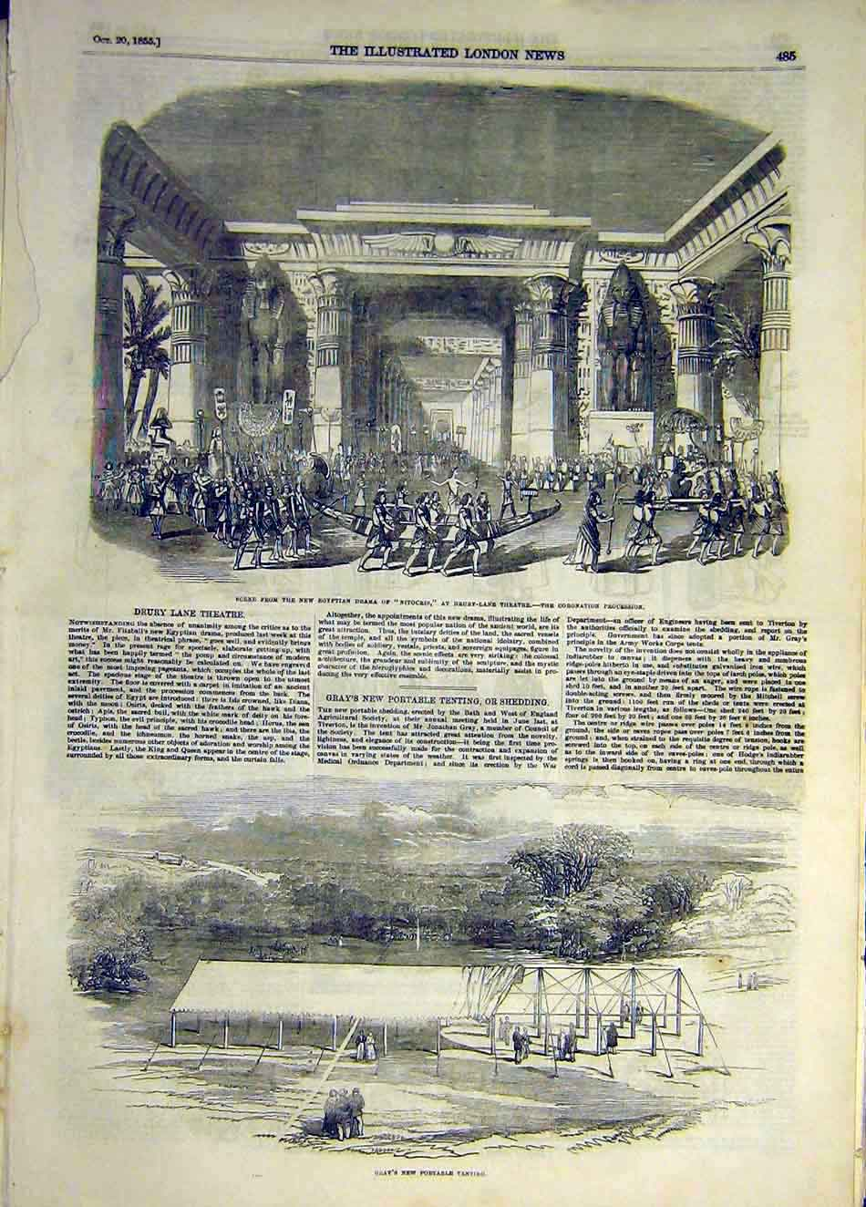 Print 1855 Scene Nitocris Theatre Gray Portable Tent 307931 Old Original